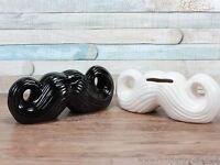 Ceramic moustache money box choice of black or white