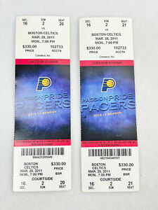 2 BOSTON CELTICS vs PACERS MARCH 28, 2011 COURTSIDE TICKET STUB