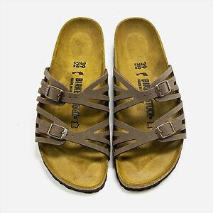 Women Birkenstock Granada Mocha Slides Adjustable 2 Strap Slide Sandals NEW