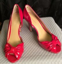 Nine West Shoes Heels Pump Red Patent Leather Cadee Peep Toe Women's 8M