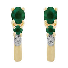 9ct Yellow Gold 0.41ct Natural Emerald & Diamond Hoop Earrings