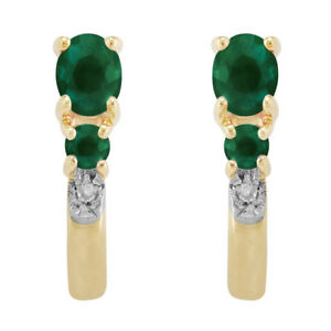 9ct Yellow Gold 0.41ct Natural Emerald & Diamond Hoop Earrings