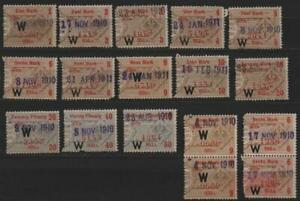 X2271–Germany-Revenues-Small lot of 17 stamps-Used-1910