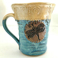 "Studio Art Pottery Mug Blue Brown Signed T Shea Embossed Accents 5""H 15 oz EUC"