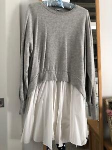 Goos Zara Sweatdress Grey/white Colour Block Size m