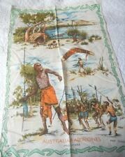 RARE VINTAGE LATE 1950'S EARLY 1960'S PURE LINEN TEA TOWEL AUSTRALIAN ABORIGINES