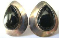 B Sterling Silver Black Onyx Vintage Pierced Earrings