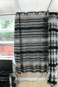 2 Pairs FAUX SILK CURTAINS WITH RING TOP