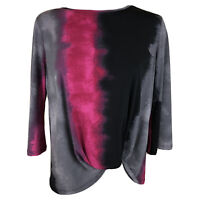 Clara Sun Woo Small Made In USA Twist Front Faux Wrap Blouse Tunic  -F564