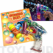 BUBBLE GUN SHOOTER LED LIGHTS UP BOYS GIRLS GAME TOY CHRISTMAS STOCKING FILLER