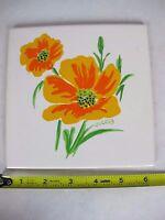Vintage Oriental Pottery Decorative Art Tile Flower
