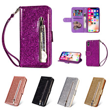 Magnetic Flip Wallet Case Glitter Zipper PU Leather Card Slot Stand Phone Cover