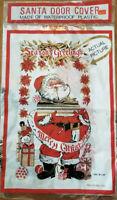 Vtg Mid Century Christmas Santa Plastic Vinyl Wall Art Poster Door Cover New Old