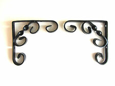 PAIR OF 12CM X 12CM SATIN BLACK WROUGHT IRON SHELF BRACKETS