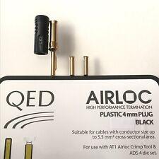 1x Genuine QED 4mm Airloc Crimp Banana Plug Connector BLACK - Inc Shims - QE1810