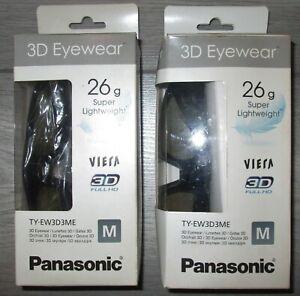 TWO PAIRS BOXED Panasonic 3D Eyewear TY-EW3D3ME Medium Full HD