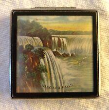 New listing Vintage Niagara Falls Souvenir Metal Compact Tin Litho Small