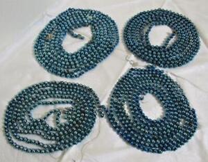 4 vintage blown glass beads beaded Christmas fir tree garlands blue ornaments