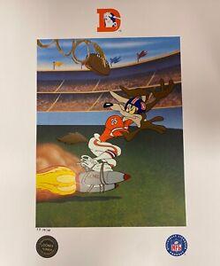 Toon Art Denver Broncos Warner Bros Bombs Away Wile E Coyote NFL Football Litho