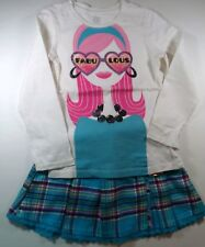 TCP Fabulous Girl Top 5/6 & NWT Justice Aqua Blue Lace Plaid Skort 6 Outfit G2