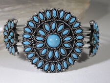 Nina Ricci Faux Petit Point Turquoise Wide Cuff Bangle Signed Excellent!