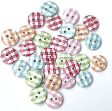 30 Gingham Buttons Wood Sewing Button Jacket Coat Sweater Fastener Plaid Blue
