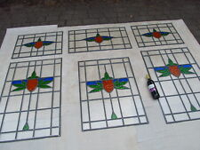 Fully Restored ENTRANCE WAY 6 Panel STAINED GLASS WINDOW SET cc1932 Original