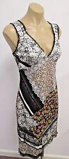 BLUMARINE Black Cotton Sleeveless Floral Dress w/ Velvet & Lace Inserts - 44