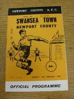 19/02/1968 Newport County v Swansea Town [Welsh Cup] . Good condition unless pre
