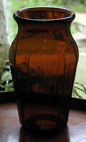 Antique Glass : An attractive dark amber glass Vase - maybe once a chemist Jar?