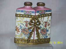 Antique French Hand Painted Porcelain Set Of Perfume Bottles w/Brass Ornate Case
