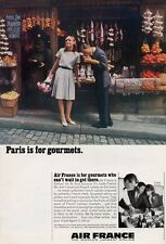 """1966 Air France Airlines Jet Flying """"Paris is for Gourmets""""  PRINT AD"""