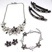 Bridal Jewelry Set- Hair Clips, Necklace, Earrings & Bracelet Pretty Silver Tone