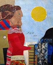 MAX PAPART Signed c. 1965 Original Gouache and Collage Painting