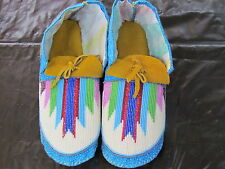 NATIVE AMERICAN MULTICOLOR FULLBEAD MOCCASSIN 9 1/2 INCHES  SPLENDID DESIGN VAMP