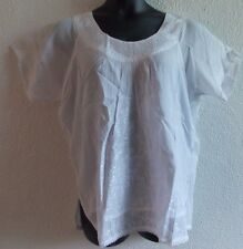Top XL 1X Plus Tunic White Embroidery Cotton Round Scoop Ruched Neck NWT  VT25