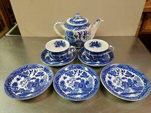 9 Piece Vintage Japan Blue Willow Tea Set, Teapot 2 Cups 5 Saucers, Porcelain