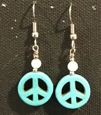 PEACE Earrings Surgical Hook New Turquoise Color Howlite Dyed (small)