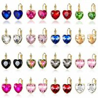 Fashion Elegant Lady Heart Crystal Rhinestone Ear Stud Earrings Jewellery Gift