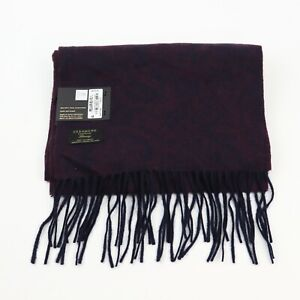 Club Room Mens Paisley One Size Solid Fringed Trim Scarf Cashmere Knit MSRP $120