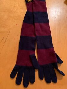 NWT Polo Ralph Lauren Cashmere  Blend Striped Long  Gloves With Logo   #224