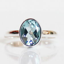 100% 925 Solid Sterling Silver Faceted Blue Topaz Stone Ring - Size 7