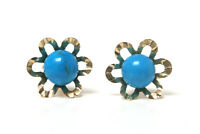 9ct Gold Turquoise Stud earrings Gift Boxed Made in UK Christmas Xmas Gift