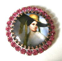 Vintage Style Czech ALL Glass Rhinestone Pin Brooch #T050 - SIGNED