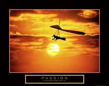 PASSION Motivational Inspirational Hang Gliding Sunset POSTER Print