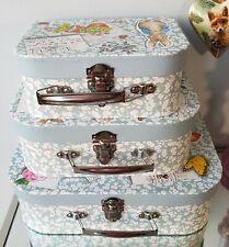 Shabby Vintage Chic Set of 3 Peter Rabbit Suitcase Storage Boxes