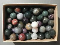 "Agate or Jasper  Marbles Dozen One Inch Natural Gemstones Vintage 1"" to 1 1/8"""