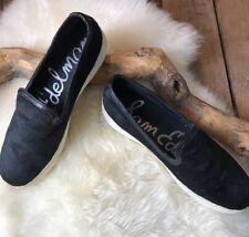 Sam Edelman Women's Becker Black Dyed Calf Hair Leather Trim Slip On Size 9 AB22