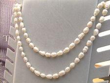 Perle Naturali Collana Perle Bianca Grandi 08/09 mm Lunga 113 cm Gioielli Donna