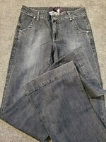 Long Tall Sally New Plume Flared Dark Destructed Stretch Jeans Size 10 Women's